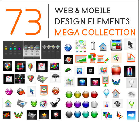 mega phone: Mega collection of web mobile design elements - icons, buttons, illustrations