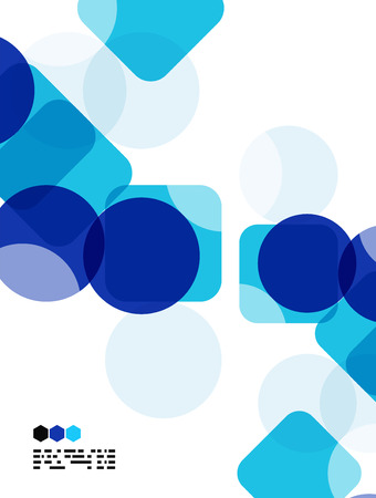Blue modern geometric design template on white. Abstract background with copy space Vector