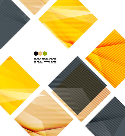 repeate: Bright yellow and dark textured geometric shapes isolated on white - modern design template Illustration