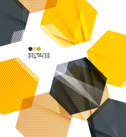 Bright yellow and dark textured geometric shapes isolated on white - modern design template Vector