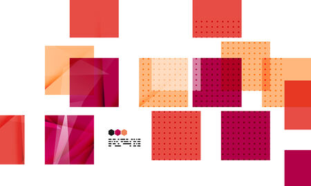 repeate: Bright red textured geometric shapes isolated on white - modern design template