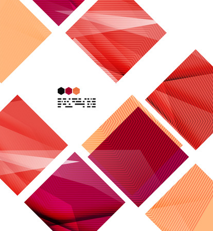 Bright red textured geometric shapes isolated on white - modern design template Vector