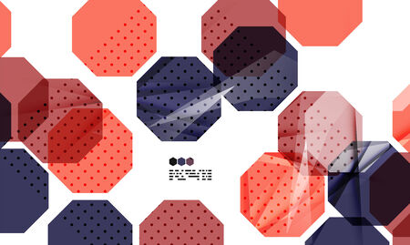 repeate: Bright red and blue textured geometric shapes isolated on white - modern design template