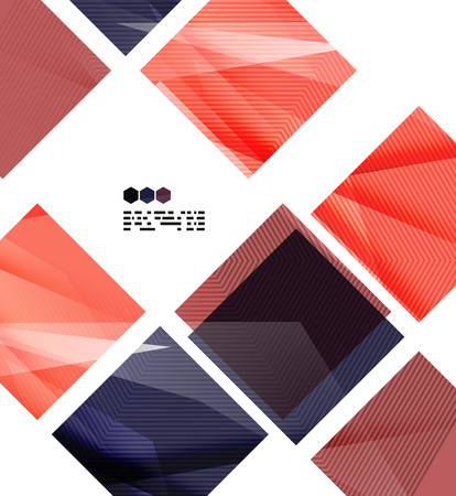 Bright red and blue textured geometric shapes isolated on white - modern design template Vector