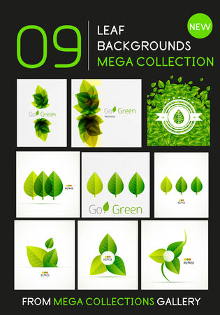 Mega collection of 9 vector green leaf compositions with copy space Vector