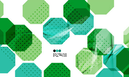 repeate: Bright green and blue textured geometric shapes isolated on white - modern design template