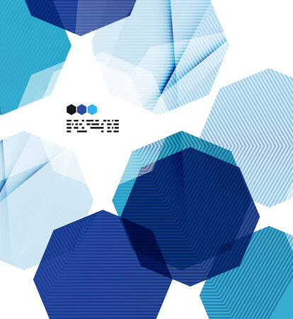 repeate: Bright blue textured geometric shapes isolated on white - modern design template Illustration