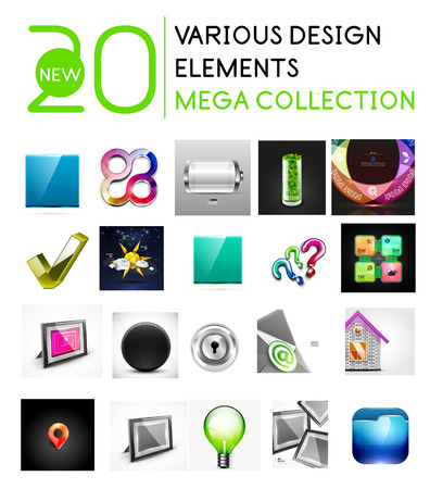 Various multipurpose design elements mega collection - buttons, icons, infographics, idea concepts, tick etc Vector
