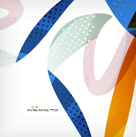 Colorful abstract flowing shapes with dotted texture on grey background Vector