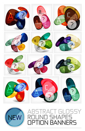 Abstract vector glossy round shape banners - mega collection of vector layouts, design elements Vector