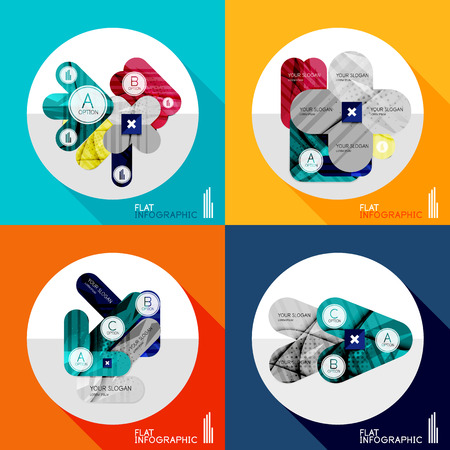 Modern geometric infographic set in trendy flat style. Business abstract layout collection Vector