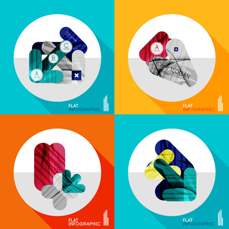 looped shape: Modern geometric infographic set in trendy flat style. Business abstract layout collection