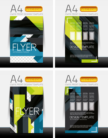 Abstract modern flyer brochure design templates collection with sample text or business A4 booklet cover Vector