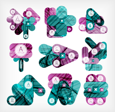 Collection of infographic option layouts created with glossy geometric shapes Vector