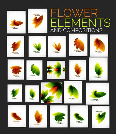 Vector flower elements set Vector