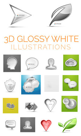 Vector 3d glossy white illustrations Vector