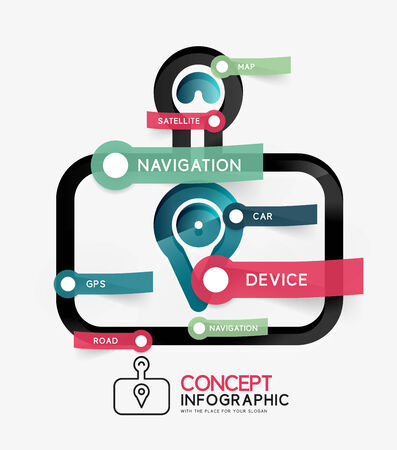 GPS navigator infographic concept Illustration