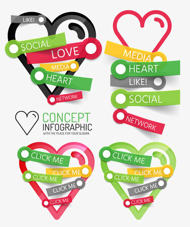 Vector social like heart infographic, tags Vector