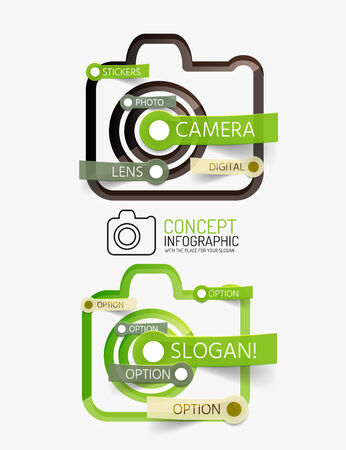 Camera infographics with tag cloud design Vector