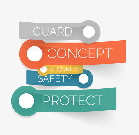 Vector protection tag cloud of stickers Vector