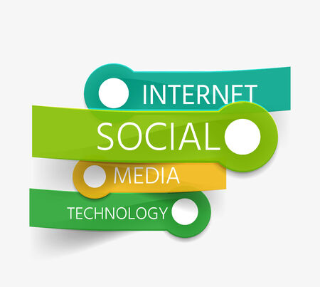 Vector social theme tag cloud of stickers Vector