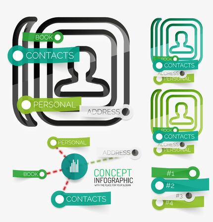 contact book: Vector contacto m�nimo libro infograf�a