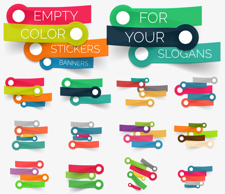 listing: Vector collection of paper sticker banners Illustration