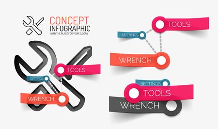 keywords: Setting tools infographics with keywords