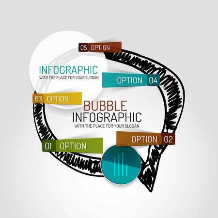 keywords bubble: Vector hand drawn cloud design and infographics