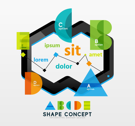 letter e: Business geometric infographic diagram layout