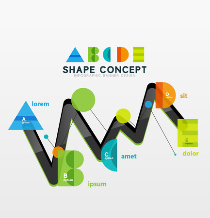 letter d: Business geometric infographic diagram layout