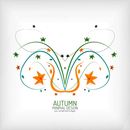 leafage: Autumn swirl lines and leaves on white Illustration