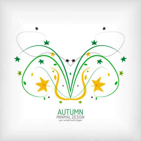 Seasonal autumn greeting card, minimal design Vector