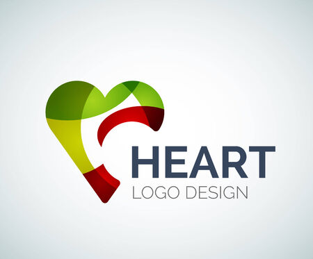 Love, heart, like, logo made of color pieces Vector