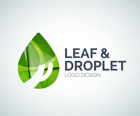 Leaf and droplet logo made of color pieces Vector