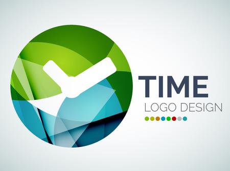 Time, clock logo design made of color pieces Vector