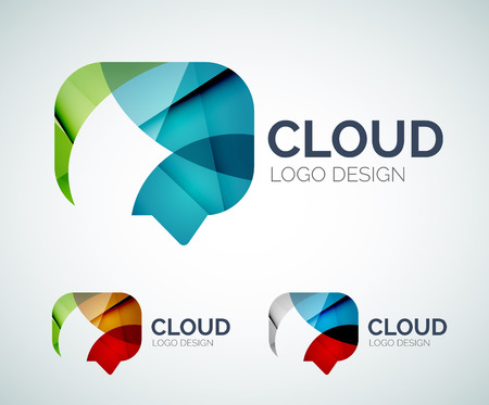 Chat cloud logo design made of color pieces Vector