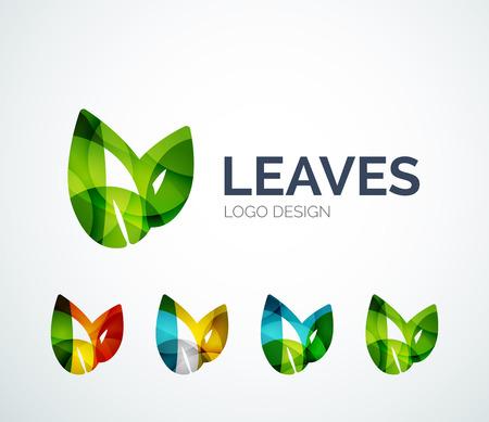 Eco bladeren logo ontwerp gemaakt van kleur stukken