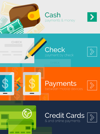 banking and finance: Set of flat design concepts payment online