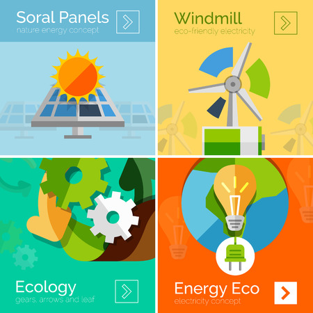 solar panels: Eco-friendly energy flat design concepts, banners