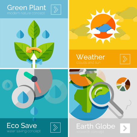 purification: Set of eco nature flat design concepts, banners