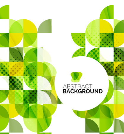 green background: Circle geometric abstract background Illustration