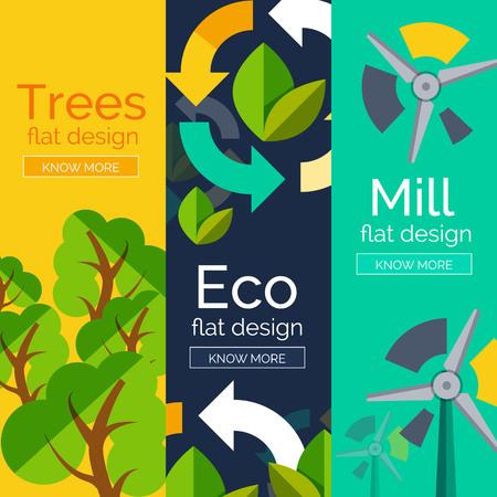 Set of flat design eco concepts