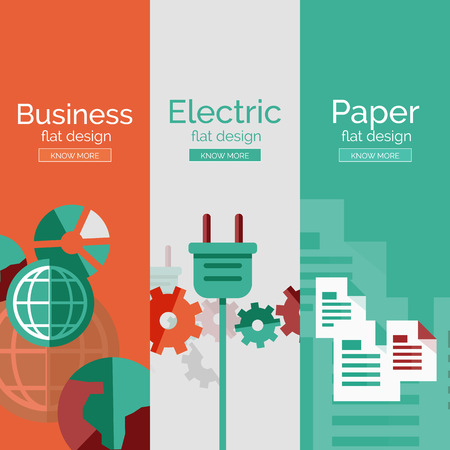 Set of flat design concepts - business, electric Illustration