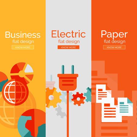 electricity generation: Set of flat design concepts - business, electric Illustration