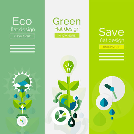 water conservation: Set of flat design eco concepts