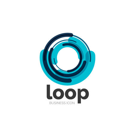 blue circle: Loop, infinity business icon Illustration