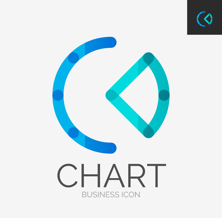 Minimal line design logo, chart, graph icon Vector
