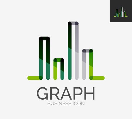 Minimal line design logo, chart, graph icon Vector