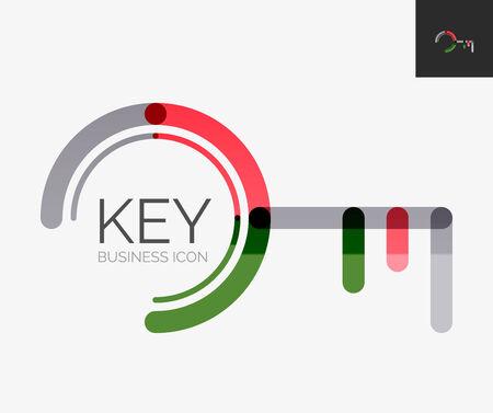 Minimal line design logo, key icon Vector